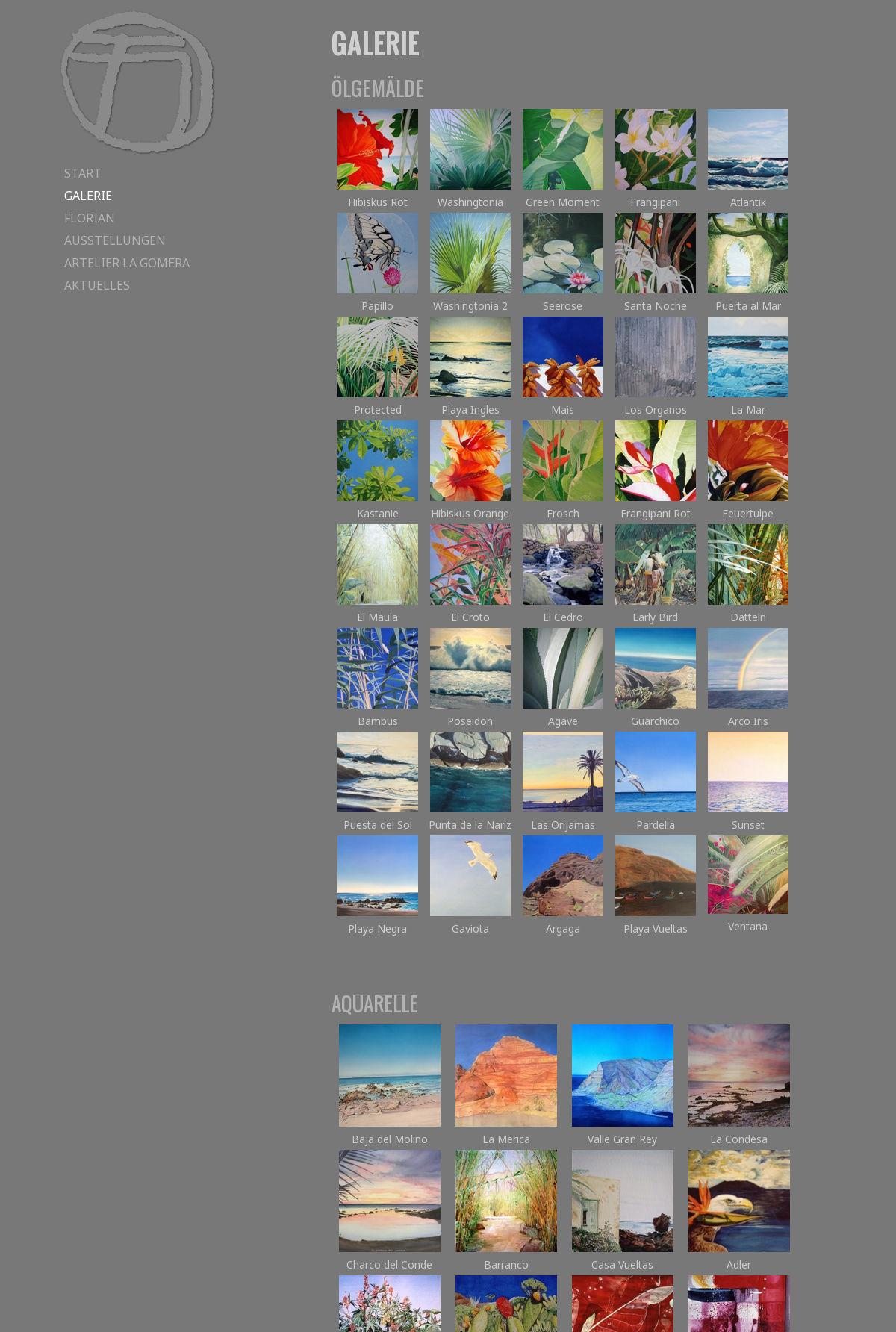 Galerie-Webseite, Florian Schuster-Böckler
